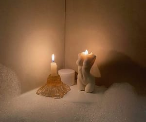 bath, candle, and light image
