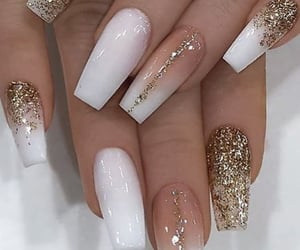 glitter, manicure, and gold image