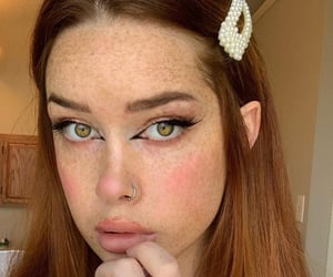freckles, piercing, and redhead image