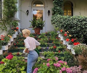 flowers, garden, and girl image