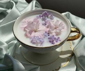 flowers, tea, and milk image