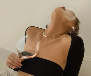 black top, fashion, and glass of wine image