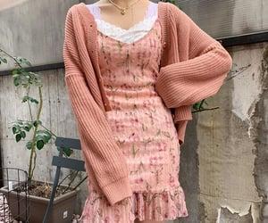 pink, pink dress, and pink cardigan image