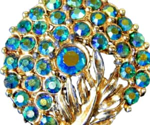 Rhinestone Brooch Peacock Blue Green AB Stones on Gold Tone image 0