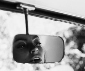 girl, black and white, and car image