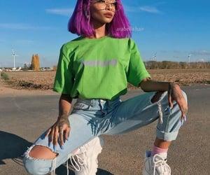 fashion, green, and purple image