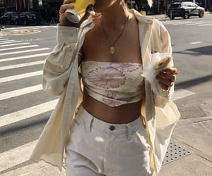 floral, necklace, and outfit image