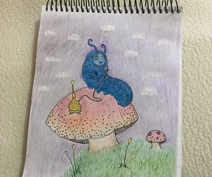 alice in wonderland, fungi, and smoking image