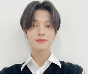 earrings, white shirt, and yeosang image