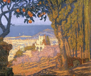 Barcelona, oranges, and painting image