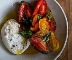 italian food, caprese salad, and heirloom tomato image