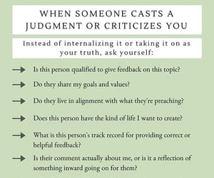 someone, casts a judgement, and criticizes you image
