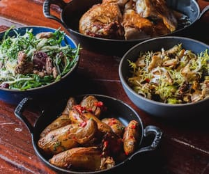 salad, roast chicken, and roast potato image