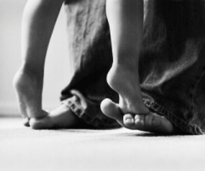 child, feet, and man image