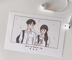 couple, drawing, and earphone image