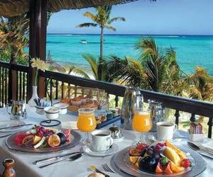 breakfast, summer, and beach image