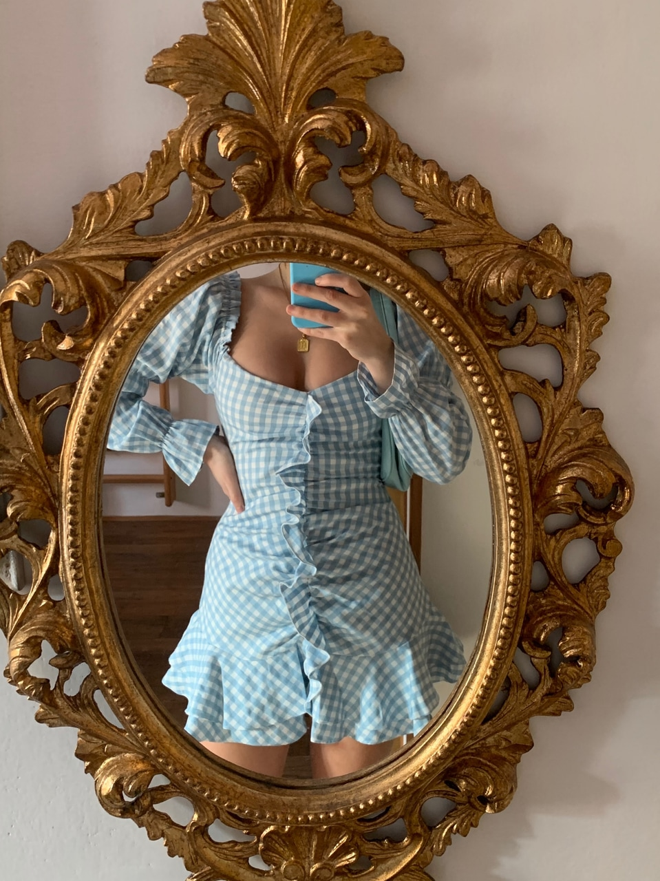 baby blue, fashion, and gingham image