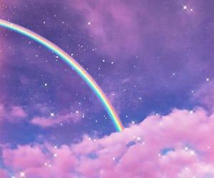 clouds, purple, and rainbow image