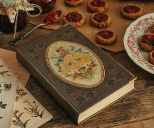 book, dough, and flowers image