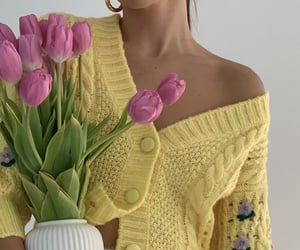 fashion, yellow, and flowers image