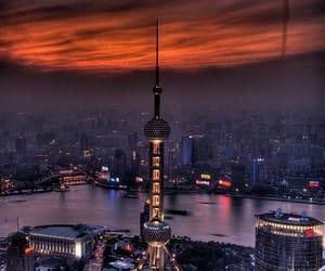 shanghai, city, and night image