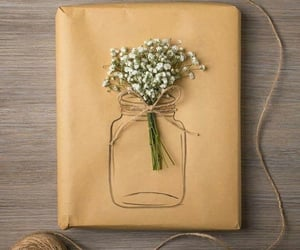 flowers, gift, and wrapping image