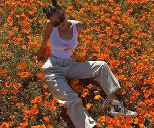 orange, fashion, and flowers image