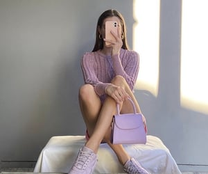 pink bottom, purple monochrome outfit, and nike sneakers purple image