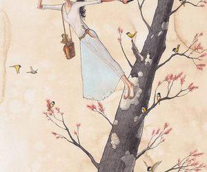 art, birds, and tree image