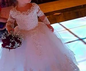 white flower girl dress, cheap flower girl dress, and lace flower girl dress image