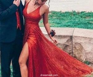 prom dress, fashion prom dress, and v neck prom dress image