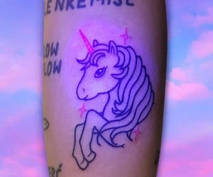 glow in the dark, unicorn tattoo, and my little pony image