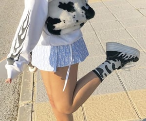 fashion, girl, and cow image