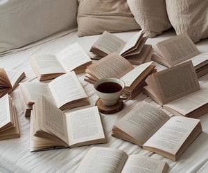 books, cup of tea, and sheets image