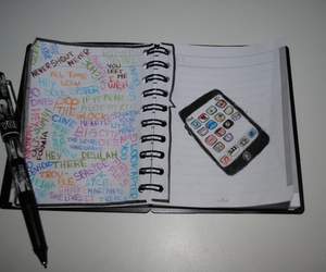 ipod, music, and notebook image
