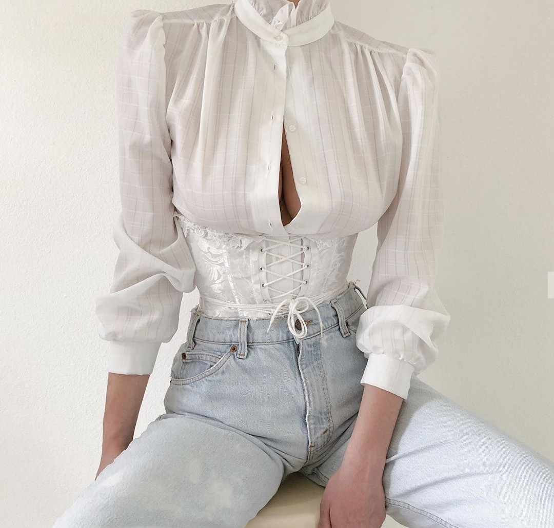 baby blue, corset, and fashion image