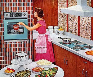 1950, 50s, and kitchen image