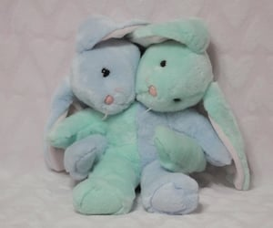 creepy, teddy bear, and plush rabbit image