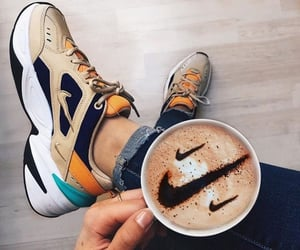 nike, shoes, and coffee image