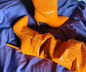 boots, orange, and shoes image