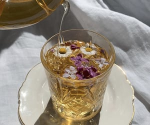 tea, flowers, and drink image