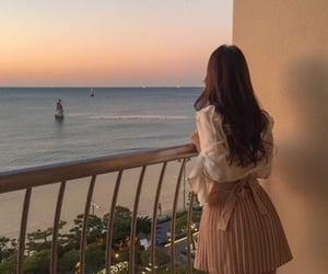 girl, aesthetic, and sunset image