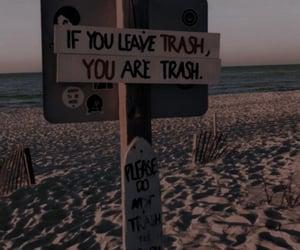 beach, trash, and nature image