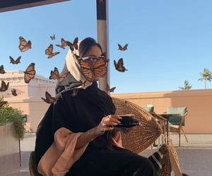 butterfly, fashion, and hijab image