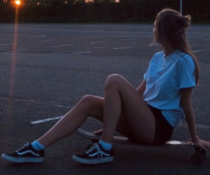 longboard, skate, and skateboarding image