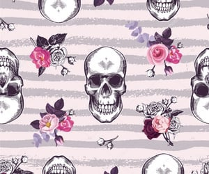 pattern, pink, and skull image