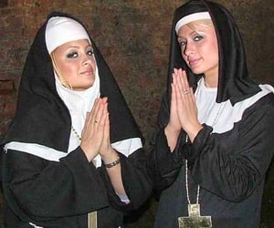 paris hilton, nicole richie, and nun image