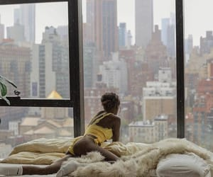 skyscraper, bed, and chillin image