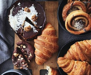 food, chocolate, and croissant image