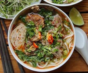 asian food, noodle soup, and bun bo hue image